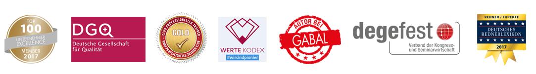 Mitgliedschaften in Top 100 Unternehmer-Excellence, DGQ, Club Professioneller Trainer, WerteKodex, Gabal, Degefest, Deutsches Rednerlexikon